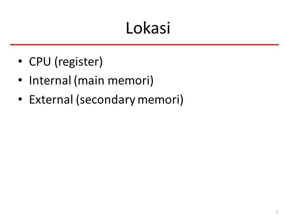 Hierarki Memori Register – Dalam CPU Internal/Main memory – Bisa lebih dari satu level dengan adanya cache – RAM External memory – Penyimpan cadangan 3