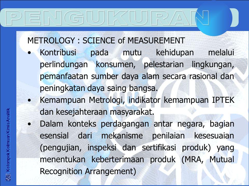 Kelompok Keilmuan Kimia Analitik METROLOGY : SCIENCE of MEASUREMENT Kontribusi pada mutu kehidupan melalui perlindungan konsumen, pelestarian lingkungan, pemanfaatan sumber daya alam secara rasional dan peningkatan daya saing bangsa.