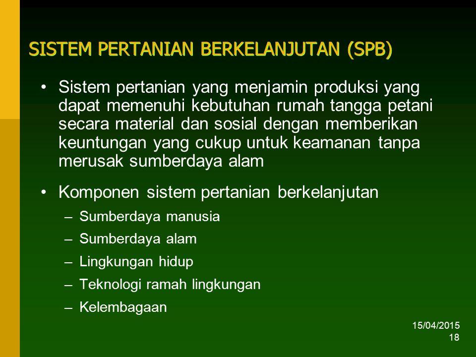 15/04/2015 18 SISTEM PERTANIAN BERKELANJUTAN (SPB) Sistem pertanian yang menjamin produksi yang dapat memenuhi kebutuhan rumah tangga petani secara ma