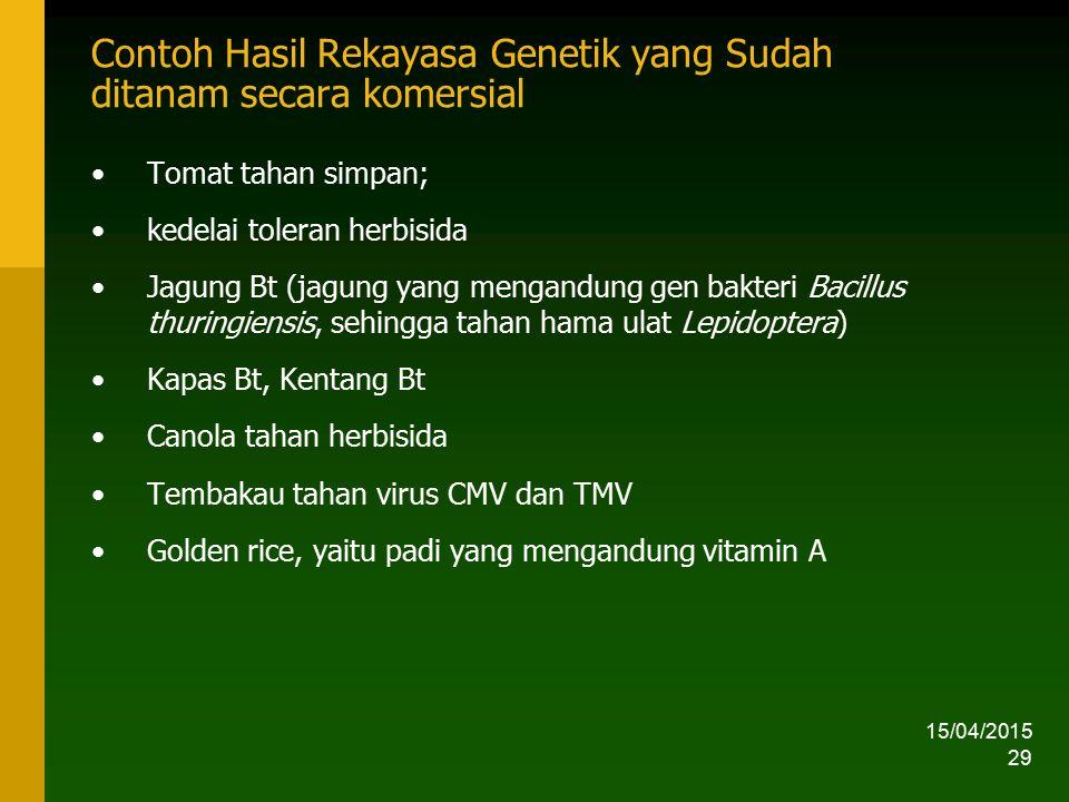 15/04/2015 29 Contoh Hasil Rekayasa Genetik yang Sudah ditanam secara komersial Tomat tahan simpan; kedelai toleran herbisida Jagung Bt (jagung yang m