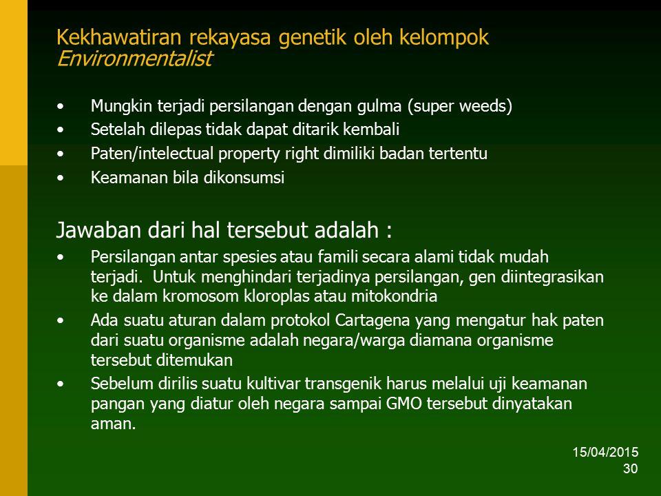15/04/2015 30 Kekhawatiran rekayasa genetik oleh kelompok Environmentalist Mungkin terjadi persilangan dengan gulma (super weeds) Setelah dilepas tida