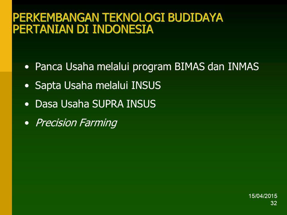 15/04/2015 32 PERKEMBANGAN TEKNOLOGI BUDIDAYA PERTANIAN DI INDONESIA Panca Usaha melalui program BIMAS dan INMAS Sapta Usaha melalui INSUS Dasa Usaha