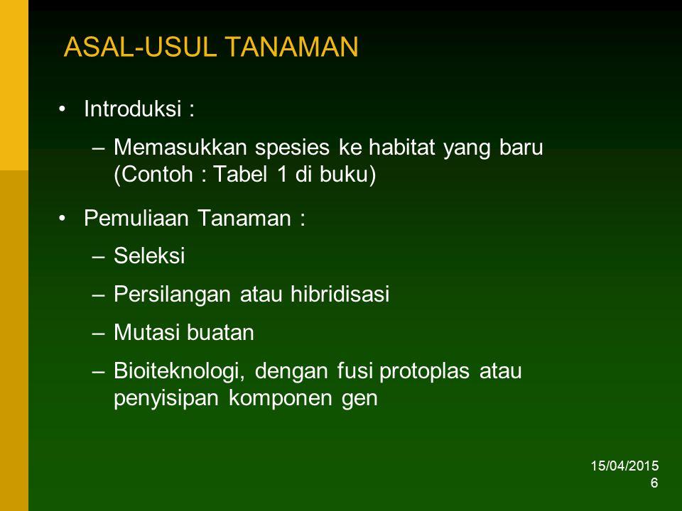 15/04/2015 6 ASAL-USUL TANAMAN Introduksi : –Memasukkan spesies ke habitat yang baru (Contoh : Tabel 1 di buku) Pemuliaan Tanaman : –Seleksi –Persilan