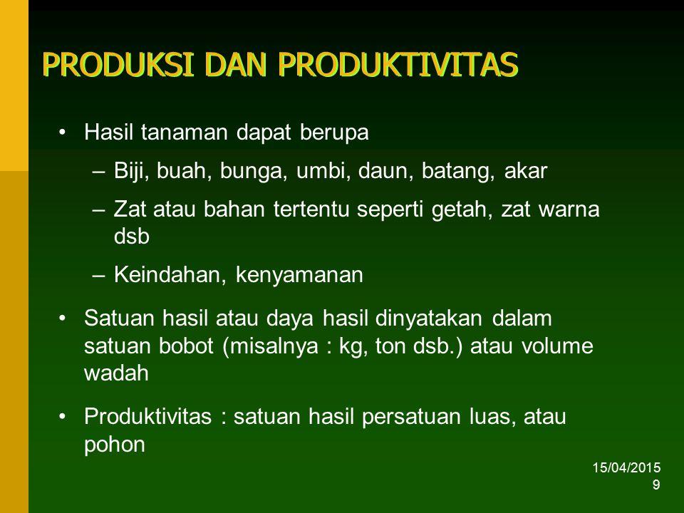 15/04/2015 10 Contoh : produktivitas beberapa komoditi di Indonesia Tanaman pangan –Padi : 4,5 ton GKG –Jagung:3,2 ton pipilan kering –Kedelai:1,0 ton biji kering Tanaman buah-buahan, sayuran, perkebunan –Jeruk: 15 kg/pohon –Cengkeh: 20 kg/pohon –Cabai: 4 ton/ha –Kelapa sawit:15 ton TBS –Karet: 700 kg karet kering
