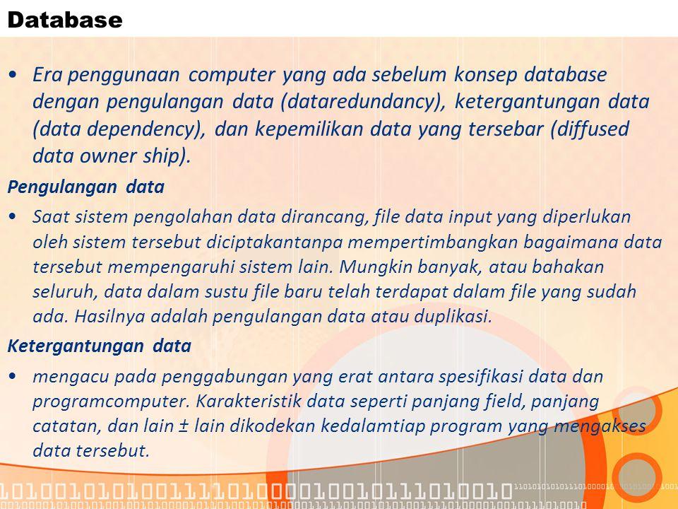 Database Era penggunaan computer yang ada sebelum konsep database dengan pengulangan data (dataredundancy), ketergantungan data (data dependency), dan kepemilikan data yang tersebar (diffused data owner ship).