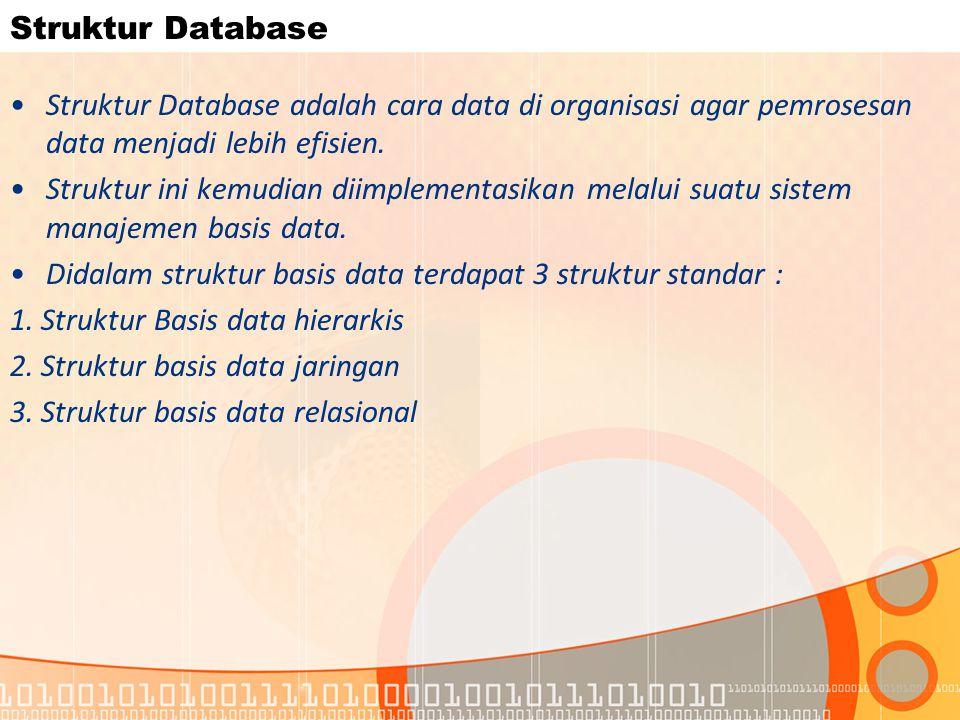 Struktur Database Struktur Database adalah cara data di organisasi agar pemrosesan data menjadi lebih efisien. Struktur ini kemudian diimplementasikan