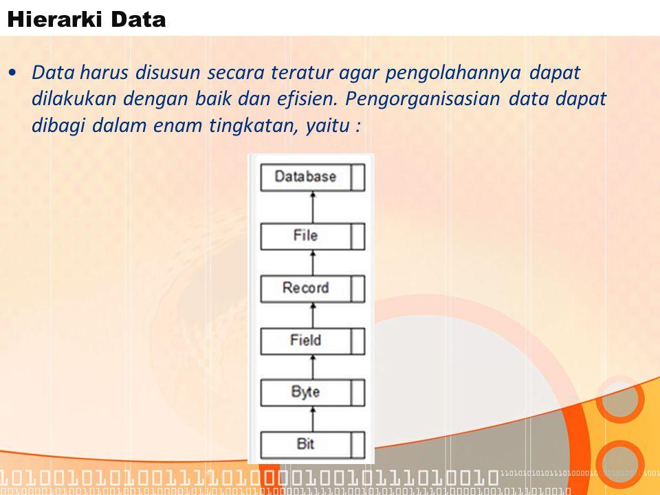Hierarki Data Data harus disusun secara teratur agar pengolahannya dapat dilakukan dengan baik dan efisien.