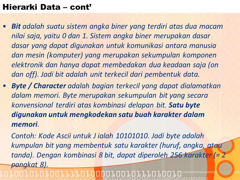 Hierarki Data – cont' Bit adalah suatu sistem angka biner yang terdiri atas dua macam nilai saja, yaitu 0 dan 1.
