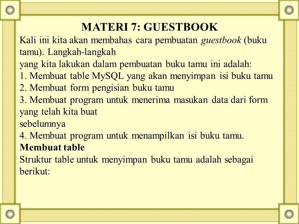 MATERI 7: GUESTBOOK Kali ini kita akan membahas cara pembuatan guestbook (buku tamu). Langkah-langkah yang kita lakukan dalam pembuatan buku tamu ini
