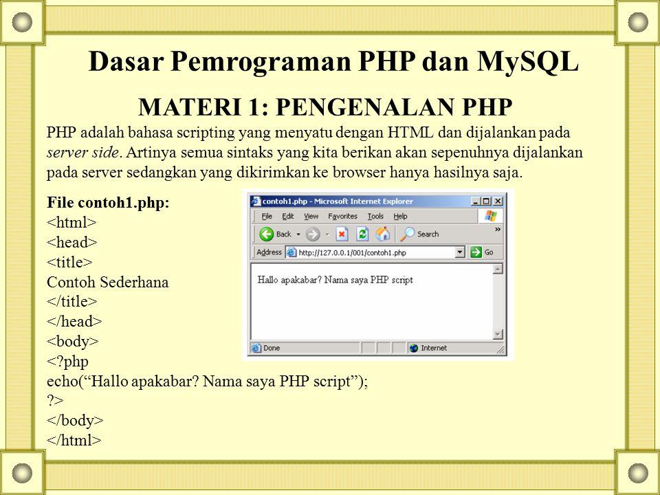 Dasar Pemrograman PHP dan MySQL MATERI 1: PENGENALAN PHP PHP adalah bahasa scripting yang menyatu dengan HTML dan dijalankan pada server side. Artinya