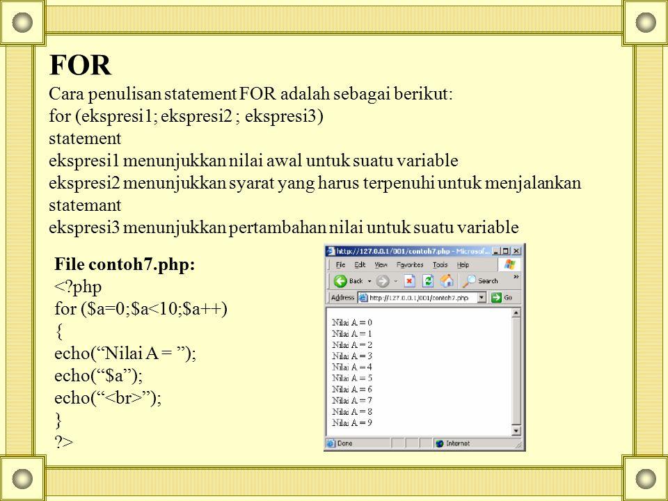 FOR Cara penulisan statement FOR adalah sebagai berikut: for (ekspresi1; ekspresi2 ; ekspresi3) statement ekspresi1 menunjukkan nilai awal untuk suatu