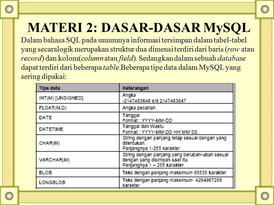 MATERI 2: DASAR-DASAR MySQL Dalam bahasa SQL pada umumnya informasi tersimpan dalam tabel-tabel yang secaralogik merupakan struktur dua dimensi terdir
