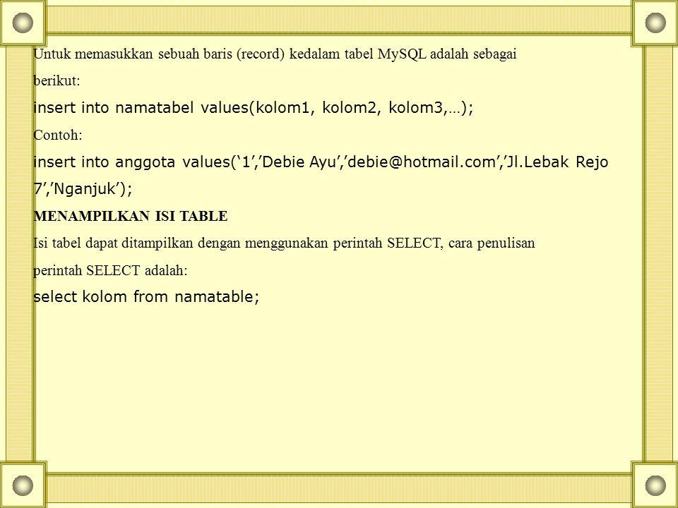 Untuk memasukkan sebuah baris (record) kedalam tabel MySQL adalah sebagai berikut: insert into namatabel values(kolom1, kolom2, kolom3,…); Contoh: ins
