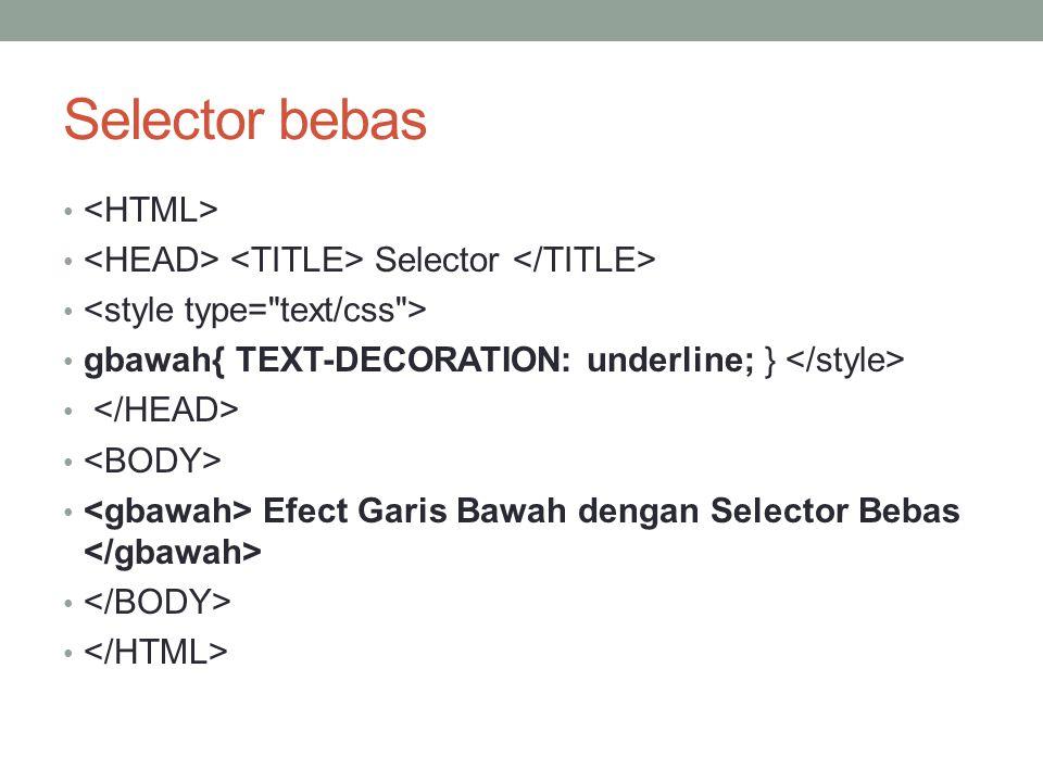 Selector bebas Selector gbawah{ TEXT-DECORATION: underline; } Efect Garis Bawah dengan Selector Bebas