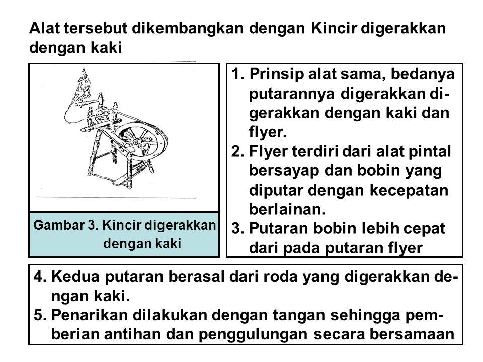 Alat tersebut dikembangkan dengan Kincir digerakkan dengan kaki Gambar 3. Kincir digerakkan dengan kaki 1.Prinsip alat sama, bedanya putarannya digera