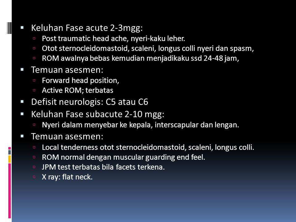  Keluhan Fase acute 2-3mgg:  Post traumatic head ache, nyeri-kaku leher.  Otot sternocleidomastoid, scaleni, longus colli nyeri dan spasm,  ROM aw