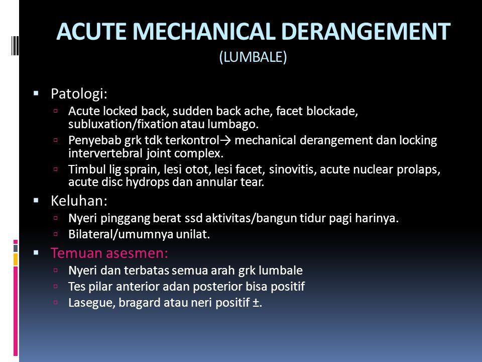 ACUTE MECHANICAL DERANGEMENT (LUMBALE)  Patologi:  Acute locked back, sudden back ache, facet blockade, subluxation/fixation atau lumbago.  Penyeba