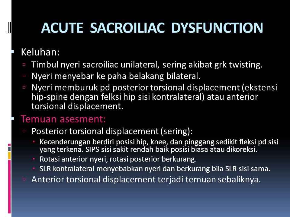ACUTE SACROILIAC DYSFUNCTION  Keluhan:  Timbul nyeri sacroiliac unilateral, sering akibat grk twisting.  Nyeri menyebar ke paha belakang bilateral.