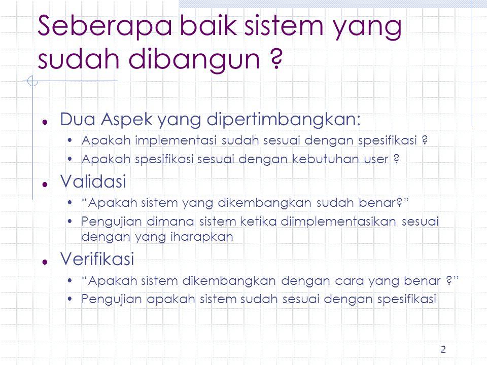 2 l Dua Aspek yang dipertimbangkan: Apakah implementasi sudah sesuai dengan spesifikasi ? Apakah spesifikasi sesuai dengan kebutuhan user ? l Validasi