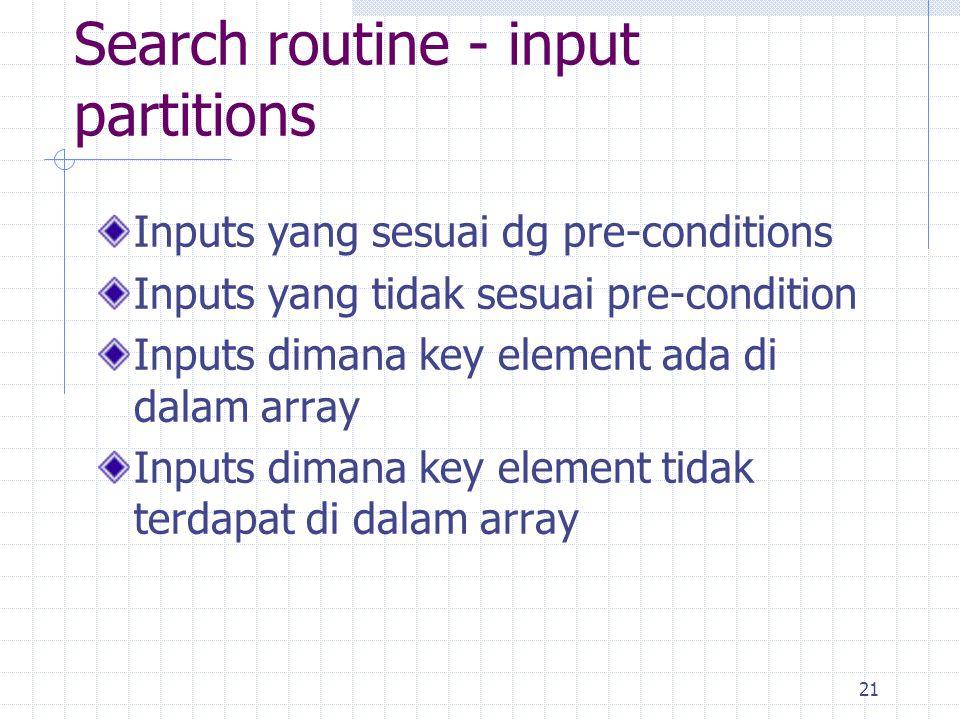 21 Inputs yang sesuai dg pre-conditions Inputs yang tidak sesuai pre-condition Inputs dimana key element ada di dalam array Inputs dimana key element