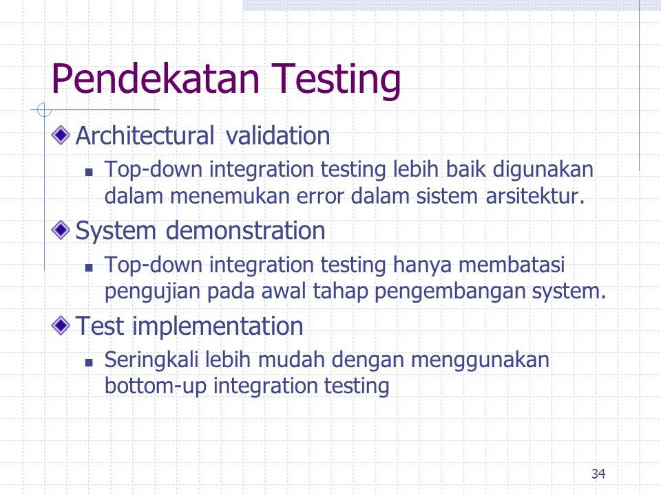 34 Pendekatan Testing Architectural validation Top-down integration testing lebih baik digunakan dalam menemukan error dalam sistem arsitektur. System