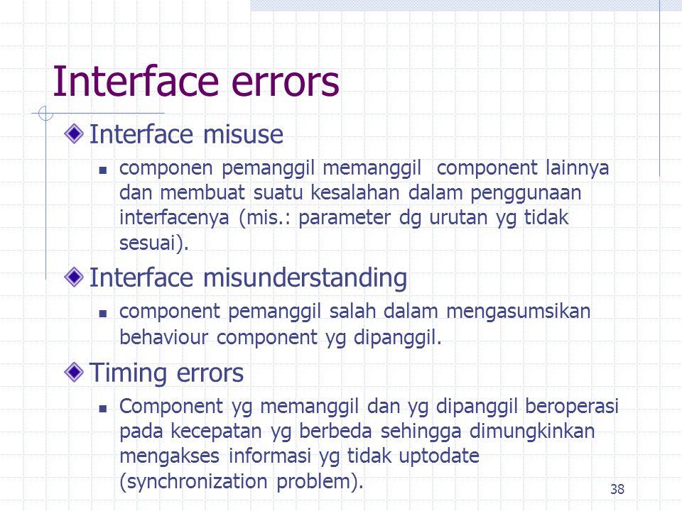 38 Interface errors Interface misuse componen pemanggil memanggil component lainnya dan membuat suatu kesalahan dalam penggunaan interfacenya (mis.: p