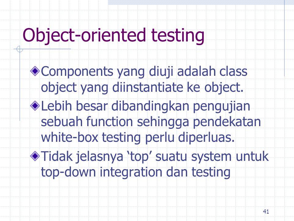 41 Components yang diuji adalah class object yang diinstantiate ke object. Lebih besar dibandingkan pengujian sebuah function sehingga pendekatan whit