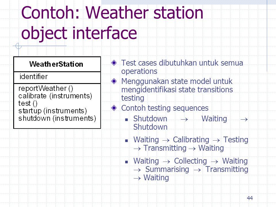 44 Contoh: Weather station object interface Test cases dibutuhkan untuk semua operations Menggunakan state model untuk mengidentifikasi state transiti