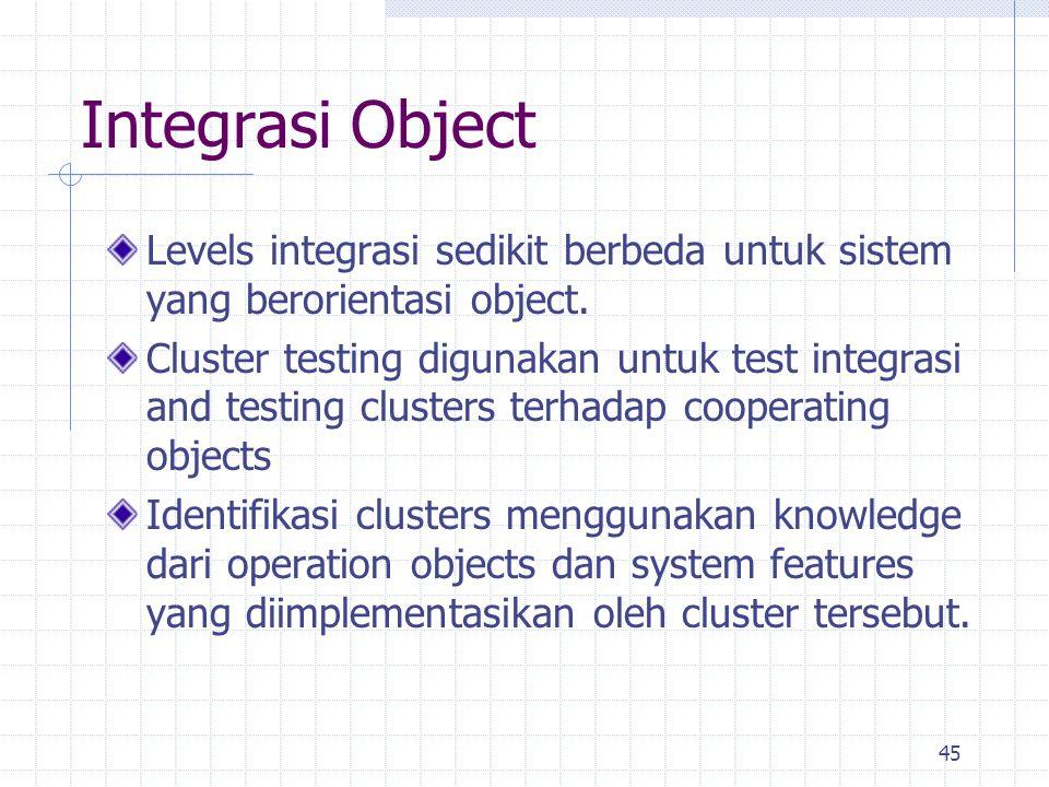 45 Integrasi Object Levels integrasi sedikit berbeda untuk sistem yang berorientasi object. Cluster testing digunakan untuk test integrasi and testing