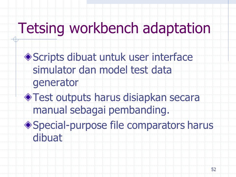 52 Tetsing workbench adaptation Scripts dibuat untuk user interface simulator dan model test data generator Test outputs harus disiapkan secara manual