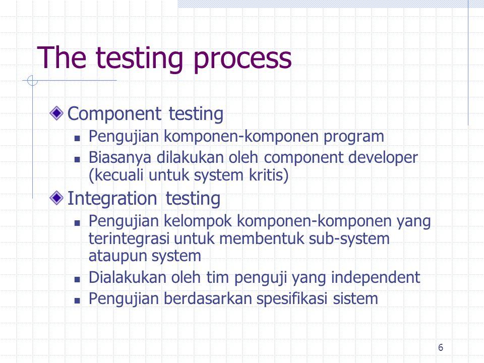 6 The testing process Component testing Pengujian komponen-komponen program Biasanya dilakukan oleh component developer (kecuali untuk system kritis)