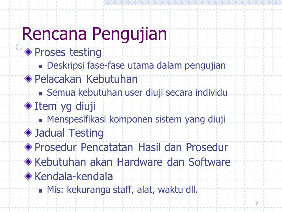7 Rencana Pengujian Proses testing Deskripsi fase-fase utama dalam pengujian Pelacakan Kebutuhan Semua kebutuhan user diuji secara individu Item yg di