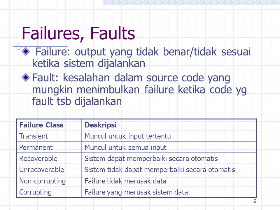 10 Contoh: Faults, Errors, and Failures l Suppose node 6 should be X:= C*(A+2*B) Failure-less fault: »executing path (1,2,4,5,7,8) will not reveal this fault because 6 is not executed »nor will executing path (1,2,3,5,6,8) because C = 0 l Need to make sure proper test cases are selected the definitions of C at nodes 3 and 4 both affect the use of C at node 6 »executing path (1,2,4,5,6,8) will reveal the failure, but only if B /= 0