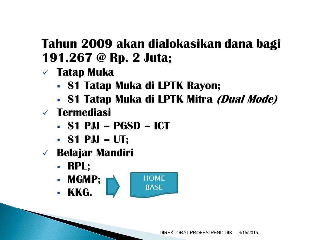 Tahun 2009 akan dialokasikan dana bagi 191.267 @ Rp. 2 Juta; Tatap Muka  S1 Tatap Muka di LPTK Rayon;  S1 Tatap Muka di LPTK Mitra (Dual Mode) Terme
