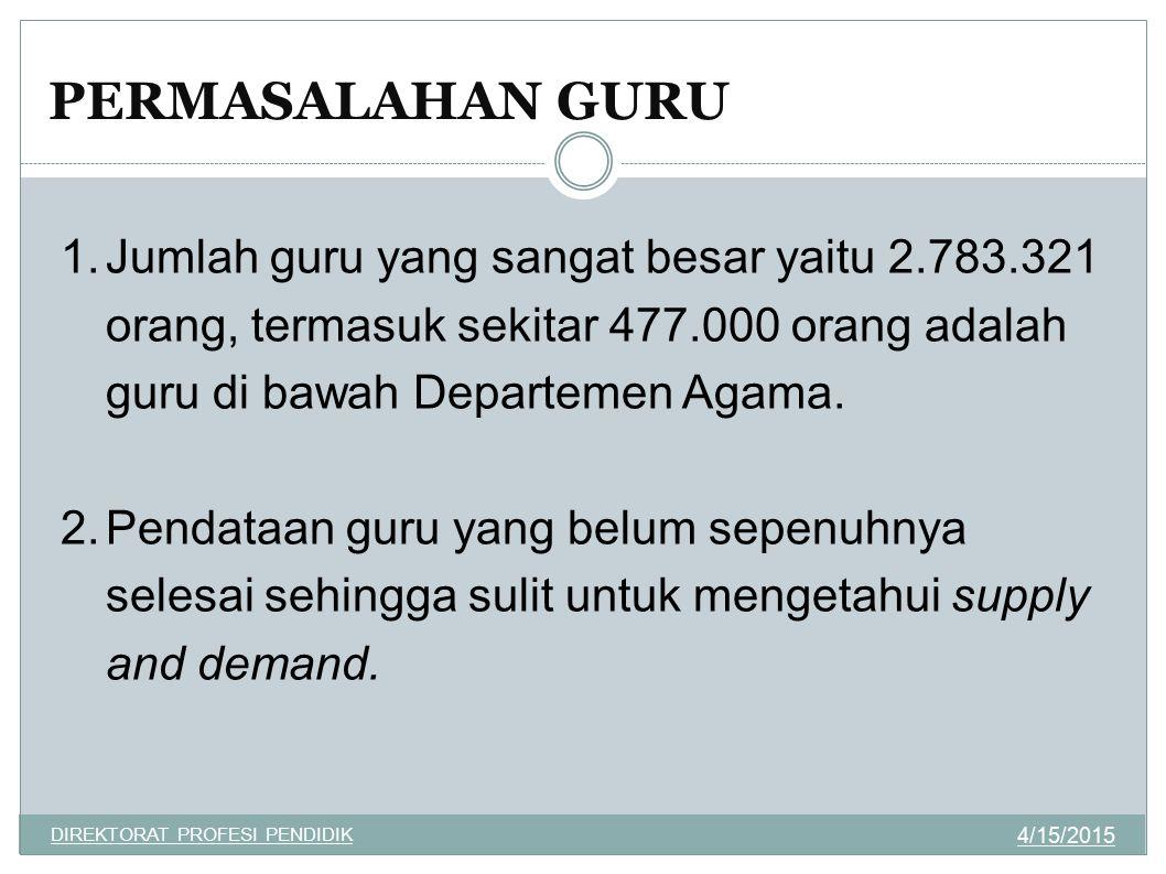 1.Jumlah guru yang sangat besar yaitu 2.783.321 orang, termasuk sekitar 477.000 orang adalah guru di bawah Departemen Agama. 2.Pendataan guru yang bel