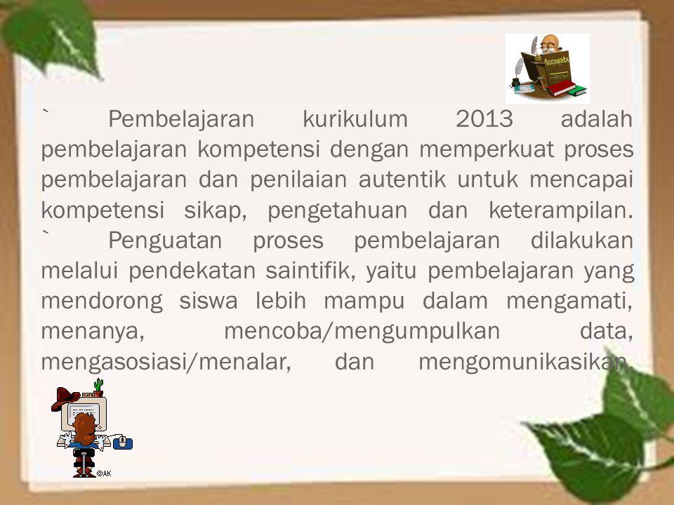 `Pembelajaran kurikulum 2013 adalah pembelajaran kompetensi dengan memperkuat proses pembelajaran dan penilaian autentik untuk mencapai kompetensi sik
