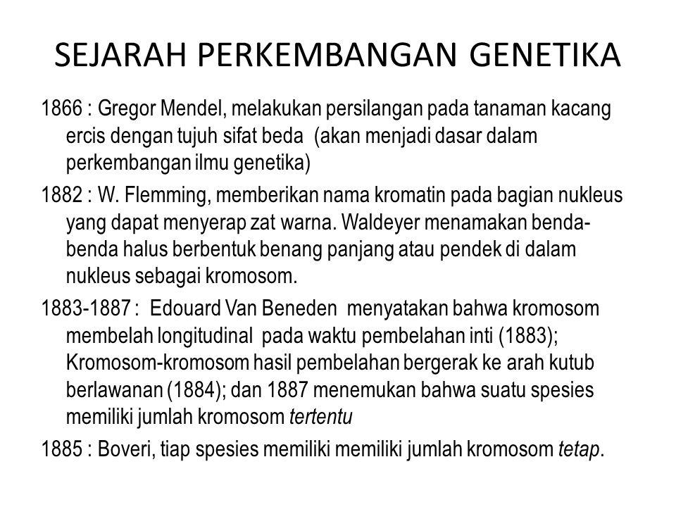 1866 : Gregor Mendel, melakukan persilangan pada tanaman kacang ercis dengan tujuh sifat beda (akan menjadi dasar dalam perkembangan ilmu genetika) 18