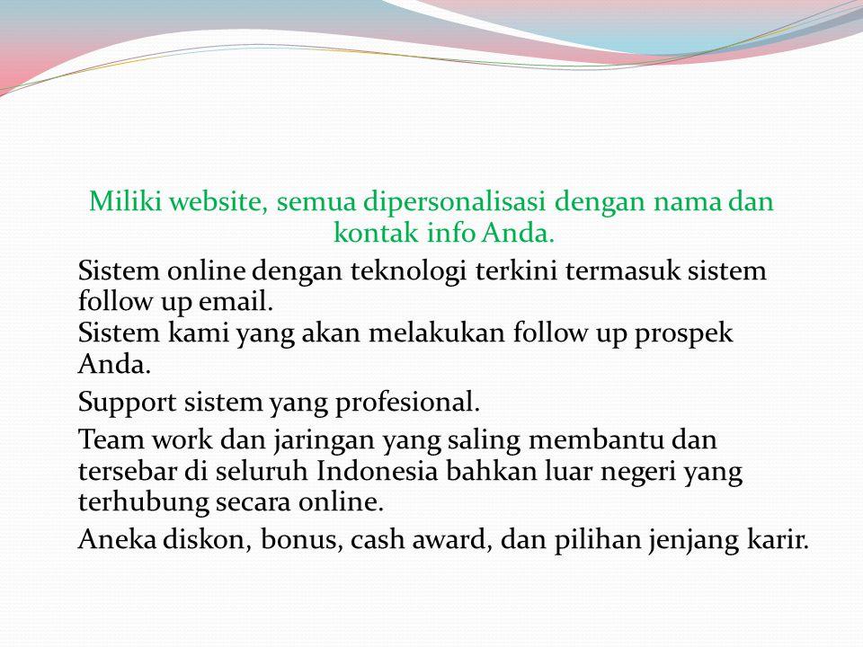 Miliki website, semua dipersonalisasi dengan nama dan kontak info Anda. Sistem online dengan teknologi terkini termasuk sistem follow up email. Sistem