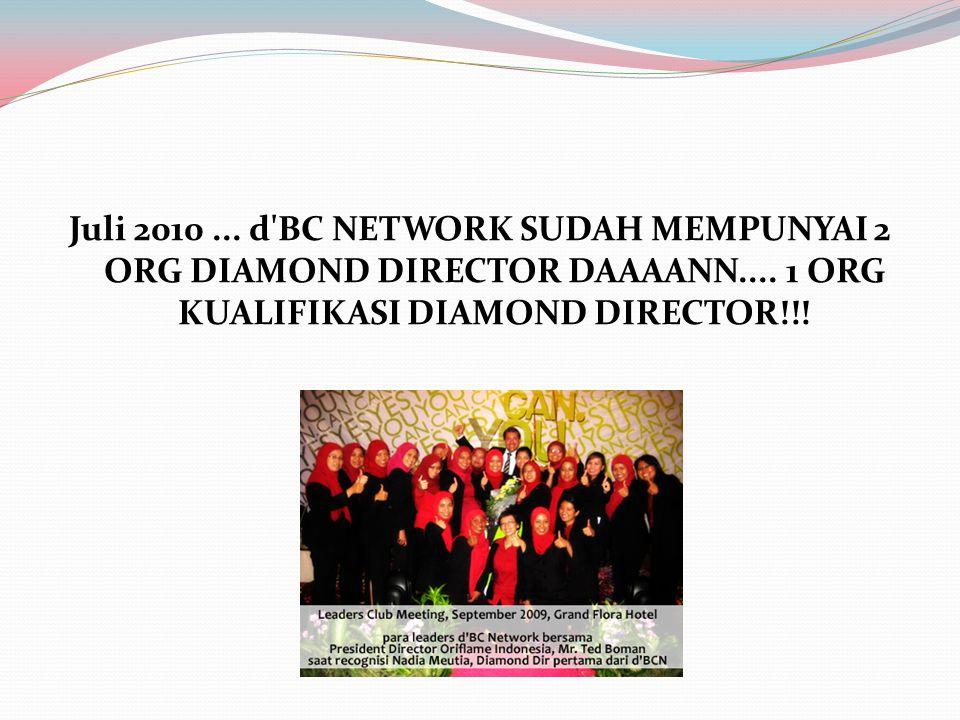 Juli 2010... d'BC NETWORK SUDAH MEMPUNYAI 2 ORG DIAMOND DIRECTOR DAAAANN.... 1 ORG KUALIFIKASI DIAMOND DIRECTOR!!!