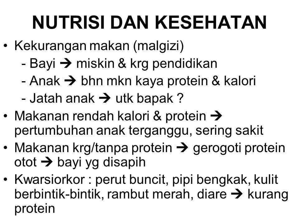 NUTRISI DAN KESEHATAN Kekurangan makan (malgizi) - Bayi  miskin & krg pendidikan - Anak  bhn mkn kaya protein & kalori - Jatah anak  utk bapak ? Ma