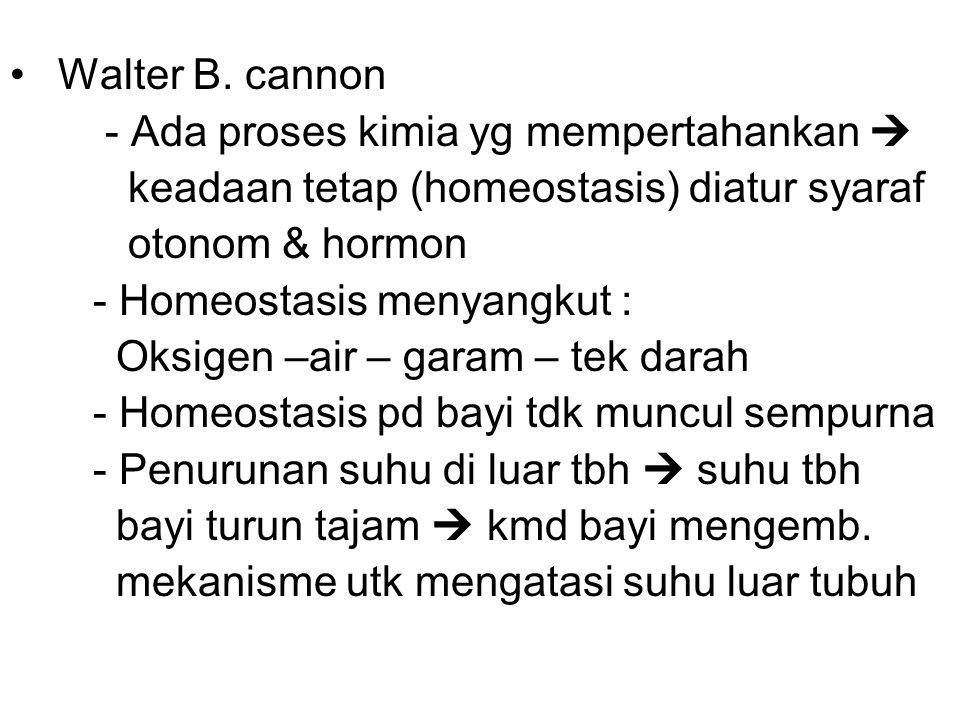 Walter B. cannon - Ada proses kimia yg mempertahankan  keadaan tetap (homeostasis) diatur syaraf otonom & hormon - Homeostasis menyangkut : Oksigen –