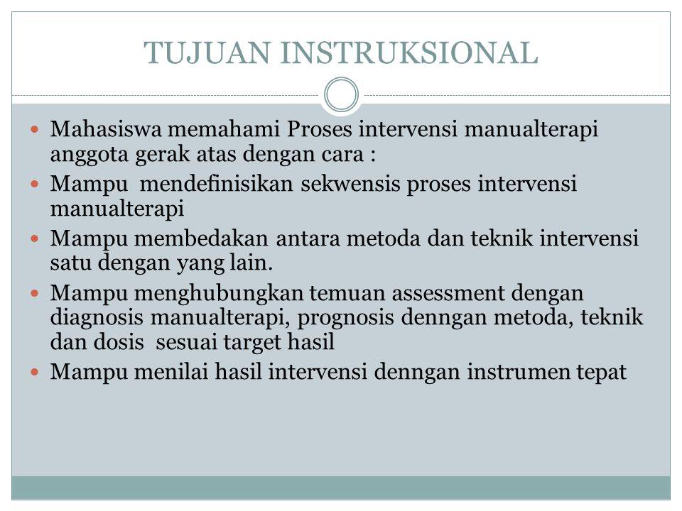TUJUAN INSTRUKSIONAL Mahasiswa memahami Proses intervensi manualterapi anggota gerak atas dengan cara : Mampu mendefinisikan sekwensis proses intervensi manualterapi Mampu membedakan antara metoda dan teknik intervensi satu dengan yang lain.