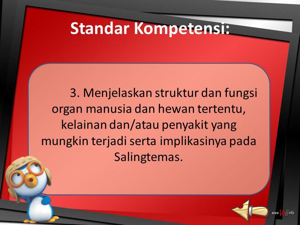 Standar Kompetensi: 3. Menjelaskan struktur dan fungsi organ manusia dan hewan tertentu, kelainan dan/atau penyakit yang mungkin terjadi serta implika