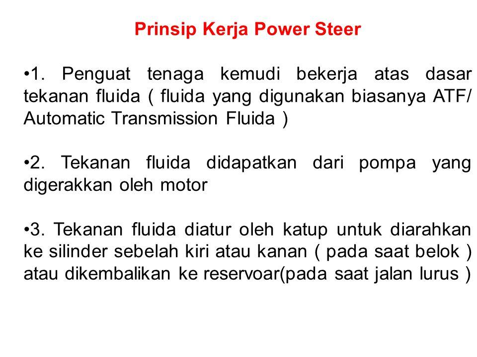 Prinsip Kerja Power Steer 1. Penguat tenaga kemudi bekerja atas dasar tekanan fluida ( fluida yang digunakan biasanya ATF/ Automatic Transmission Flui