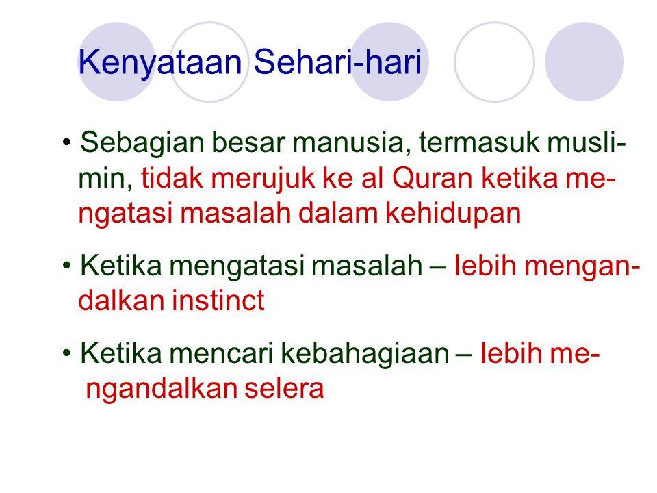 Kenyataan Sehari-hari Sebagian besar manusia, termasuk musli- min, tidak merujuk ke al Quran ketika me- ngatasi masalah dalam kehidupan Ketika mengata