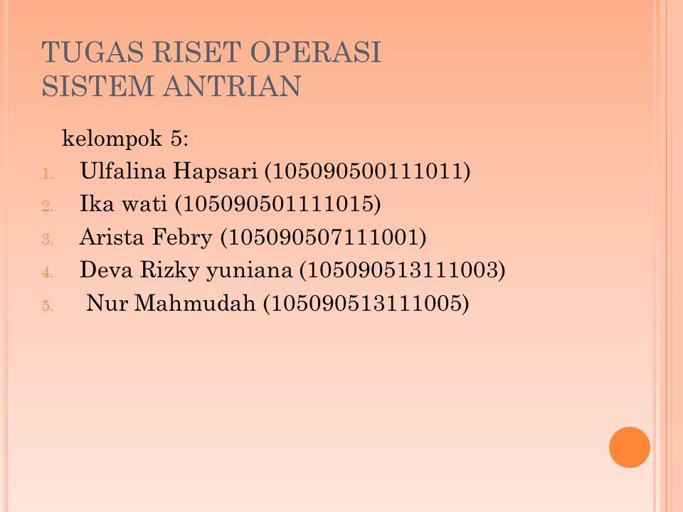 TUGAS RISET OPERASI SISTEM ANTRIAN kelompok 5: 1.Ulfalina Hapsari (105090500111011) 2.