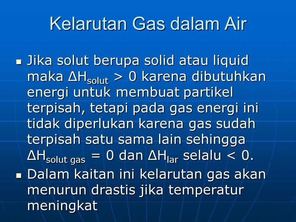 Kelarutan Gas dalam Air Jika solut berupa solid atau liquid maka ΔH solut > 0 karena dibutuhkan energi untuk membuat partikel terpisah, tetapi pada gas energi ini tidak diperlukan karena gas sudah terpisah satu sama lain sehingga ΔH solut gas = 0 dan ΔH lar selalu 0 karena dibutuhkan energi untuk membuat partikel terpisah, tetapi pada gas energi ini tidak diperlukan karena gas sudah terpisah satu sama lain sehingga ΔH solut gas = 0 dan ΔH lar selalu < 0.