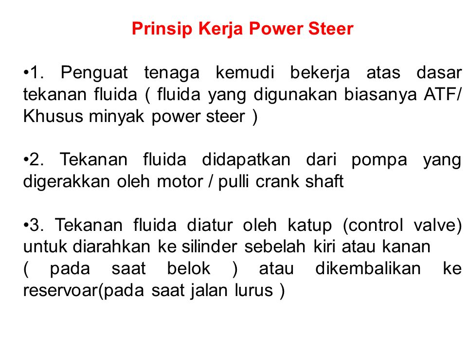 Prinsip Kerja Power Steer 1.