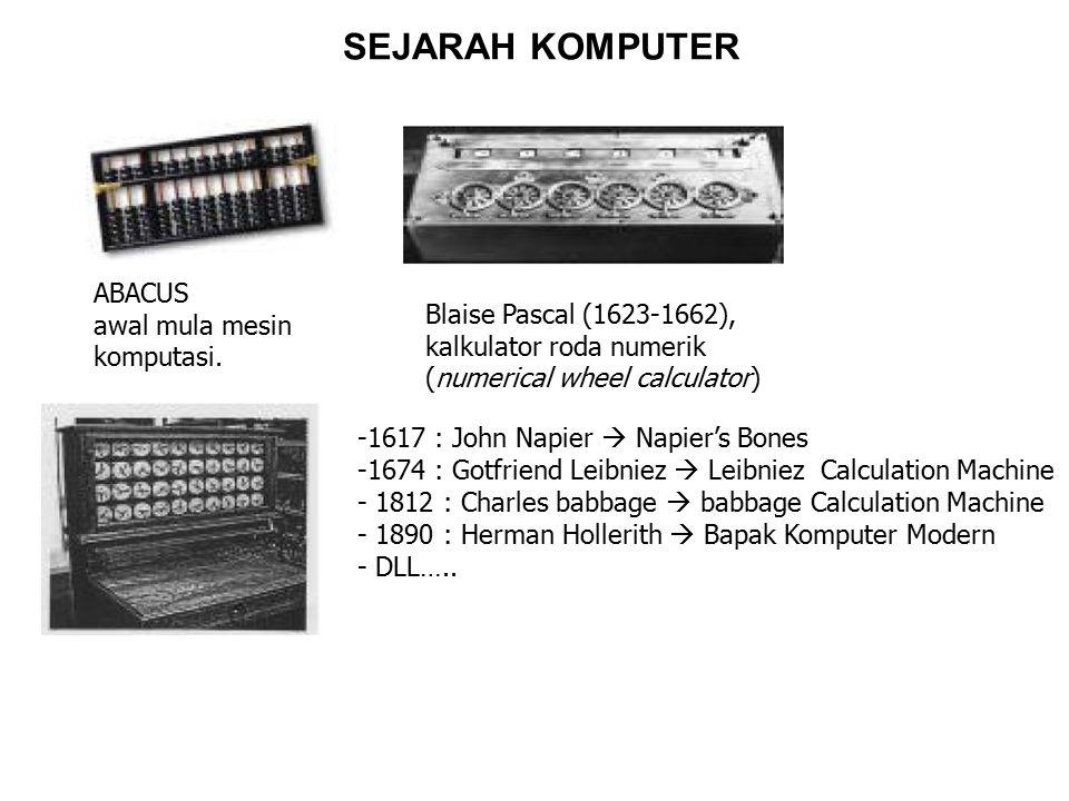Komputer Generasi Pertama (1946-1959) Sirkuitnya menggunakan Vacum Tube Program dibuat dengan bahasa mesin ; ASSEMBLER Ukuran fisik komputer sangat besar, Cepat panas Proses kurang cepat, Kapasitas penyimpanan kecil Memerlukan daya listrik yang besar Orientasi pada aplikasi bisnis 1946 : ENIAC, komputer elektronik pertama didunia yang mempunyai bobot seberat 30 ton, panjang 30 M dan tinggi 2.4 M dan membutuhkan daya listrik 174 kilowatts 1953 : IBM 701, komputer komersial berukuran besar, komputer generasi pertama yang paling populer