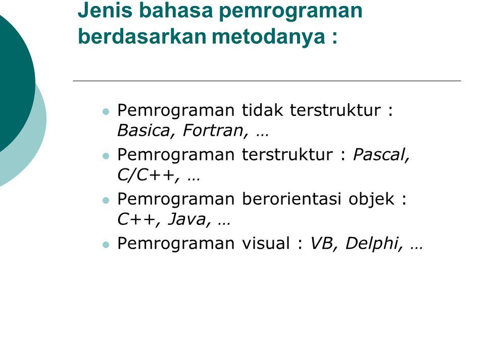 Jenis bahasa pemrograman berdasarkan metodanya : Pemrograman tidak terstruktur : Basica, Fortran, … Pemrograman terstruktur : Pascal, C/C++, … Pemrogr